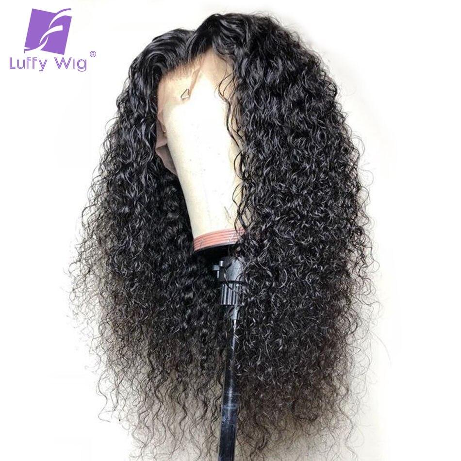 Луффи бразильский вьющиеся бесклеевой предварительно сорвал Full Lace человеческих волос парики с ребенком волос не Реми бесплатная часть нат