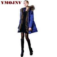 YMOJNV модные синие парка зимнее пальто негабаритных Настоящее енота меховой воротник вниз женские пуховики Парка на пуху женская зимняя курт