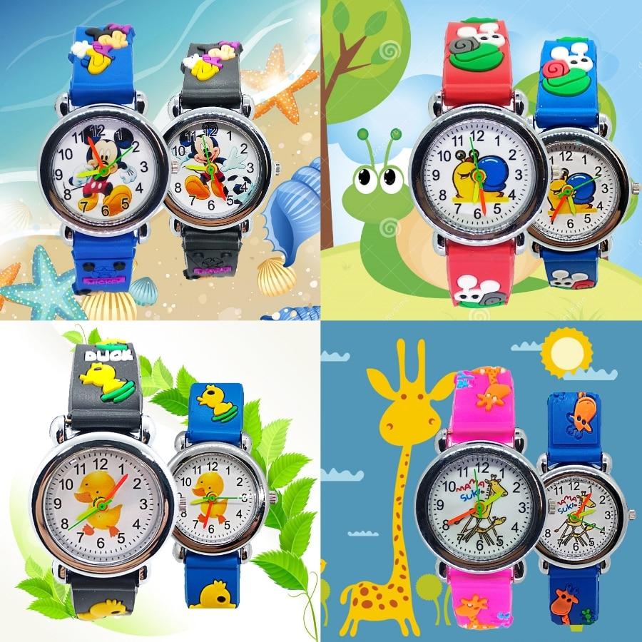 4 Style Mix Mickey Snail Duck Giraffe Kids Watches Girls Fashion Casual Children Watch Boys Student Clock Quartz Wristwatches