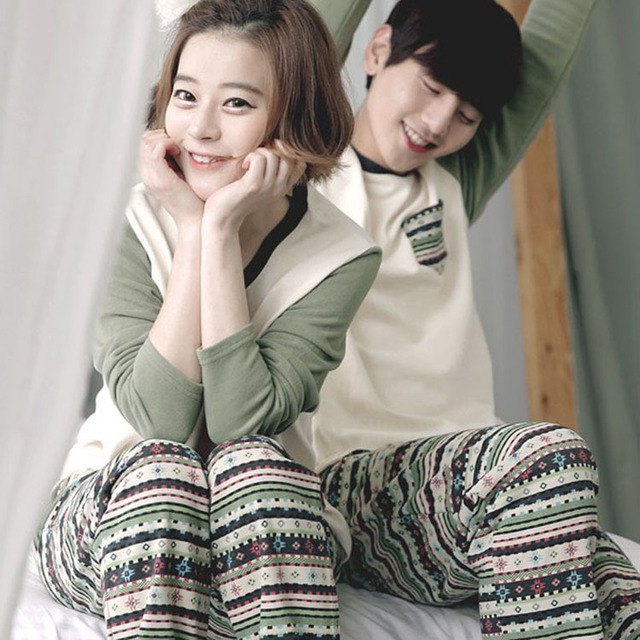 9 Styles Couple Pijama Love Korean Sleepwear Pajamas Men Women Lovely Ladies Long-Sleeved Couple Man Pajamas Cartoon Pajamas