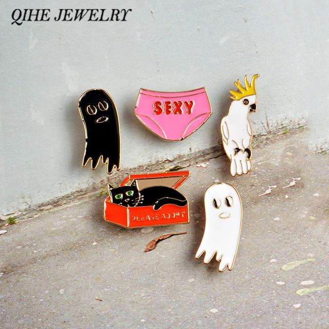 QIHE JEWELRY Cat In The Box Sexy Underwear Bird Cute Ghost Cartoon Enamel Hard Metal Pins Brooches Badge Men Women Jewelry