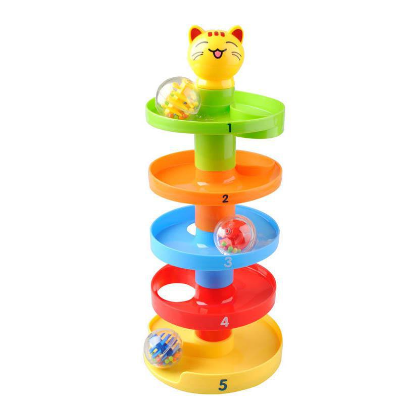 Rolling Ball Bell Puzzle ABS Plastic Infant Pile Tower Stacker Educationsl Toys Kids Baby Gift