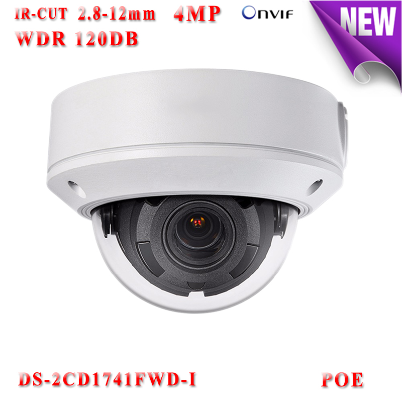DS-2CD1741FWD-I 4mp hikvision ip camera poe 1080P ip cameras outdoor WDR 120DB Video Surveilance camera with TF Card slot cd диск fleetwood mac rumours 2 cd
