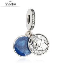 SHEALIA Vintage Esmalte Azul Cielo de La Noche de Navidad Colgantes Encantos Para Hacer La Joyería de Plata de ley 925 de Circón Estrellas Luna Cuentas