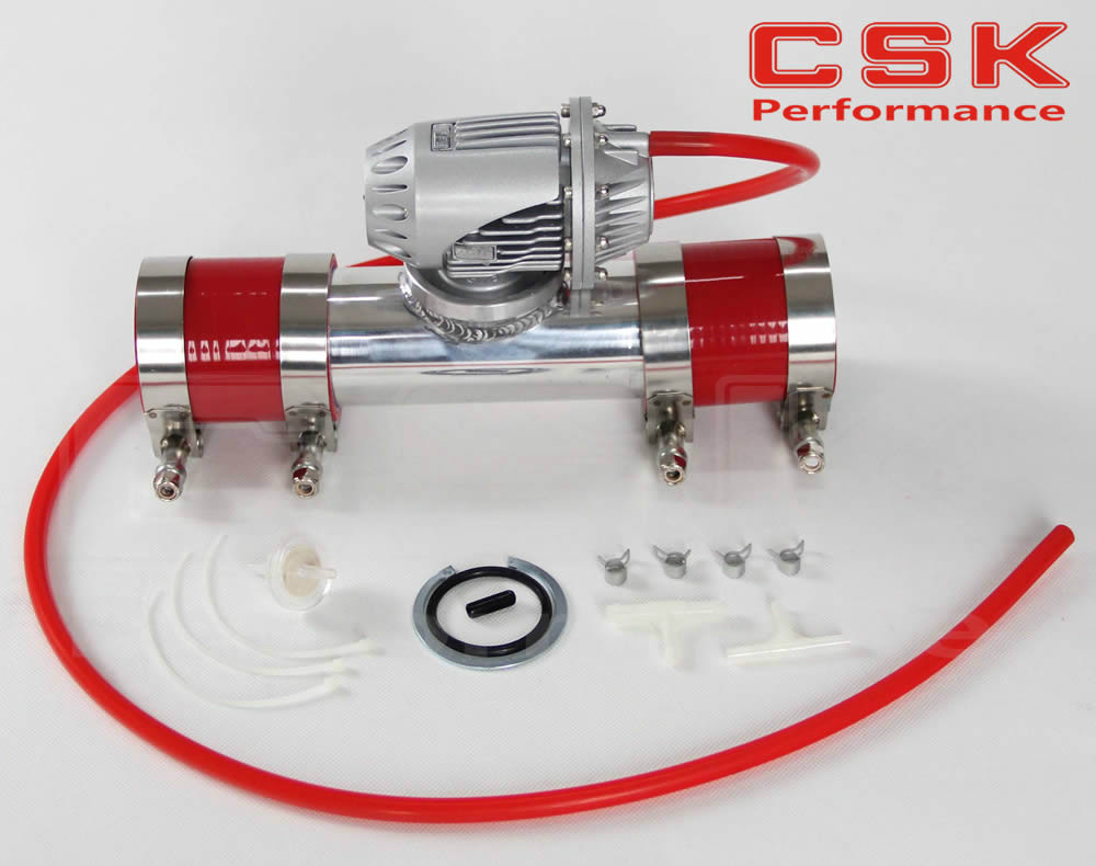 """silver Aluminum Billet Anodized Type 4 SQV Blow Off Valve BOV +2.5"""" Flange Pipe +silicone +clanps +4mm vaccum hose red - title="""
