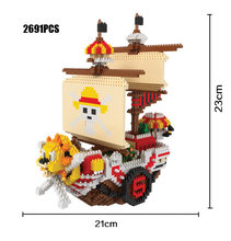 Cartoon Anime one piece micro diamond building block THOUSAND SUNNY pirate ship nanoblock model assemble bricks toys collection(China)