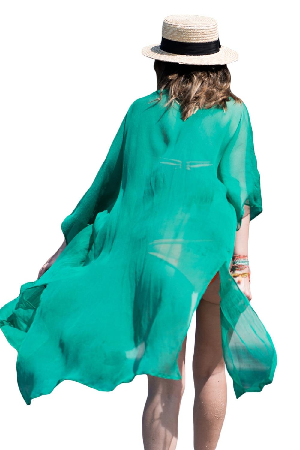 a557272866178 2018 New Sexy Hawaiian Crinkle Sheer Chiffon Long Kaftan Miami Beach Dress  Bathing Suit Cover Ups Tunic Beach Pareo Sexy 42111