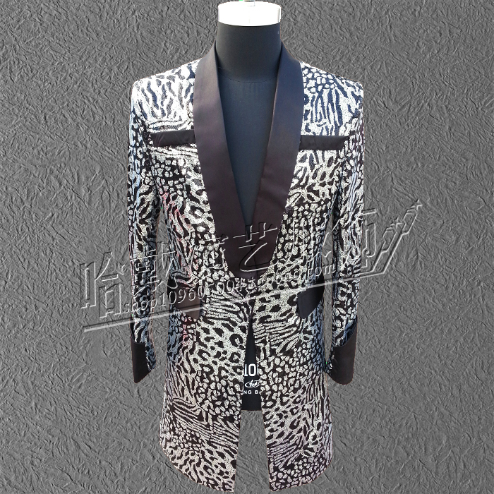 Punk Style Costume DS Costume PU Leather GD BIGBANG right Zhi-Long concert leopard suit nightclub singer stage costumes Blazers