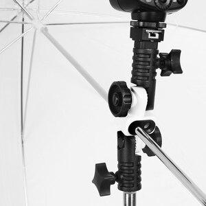 Image 5 - Soporte Universal de zapata para Flash, adaptador de zapata para disparador, soporte de paraguas doble, soporte giratorio de luz