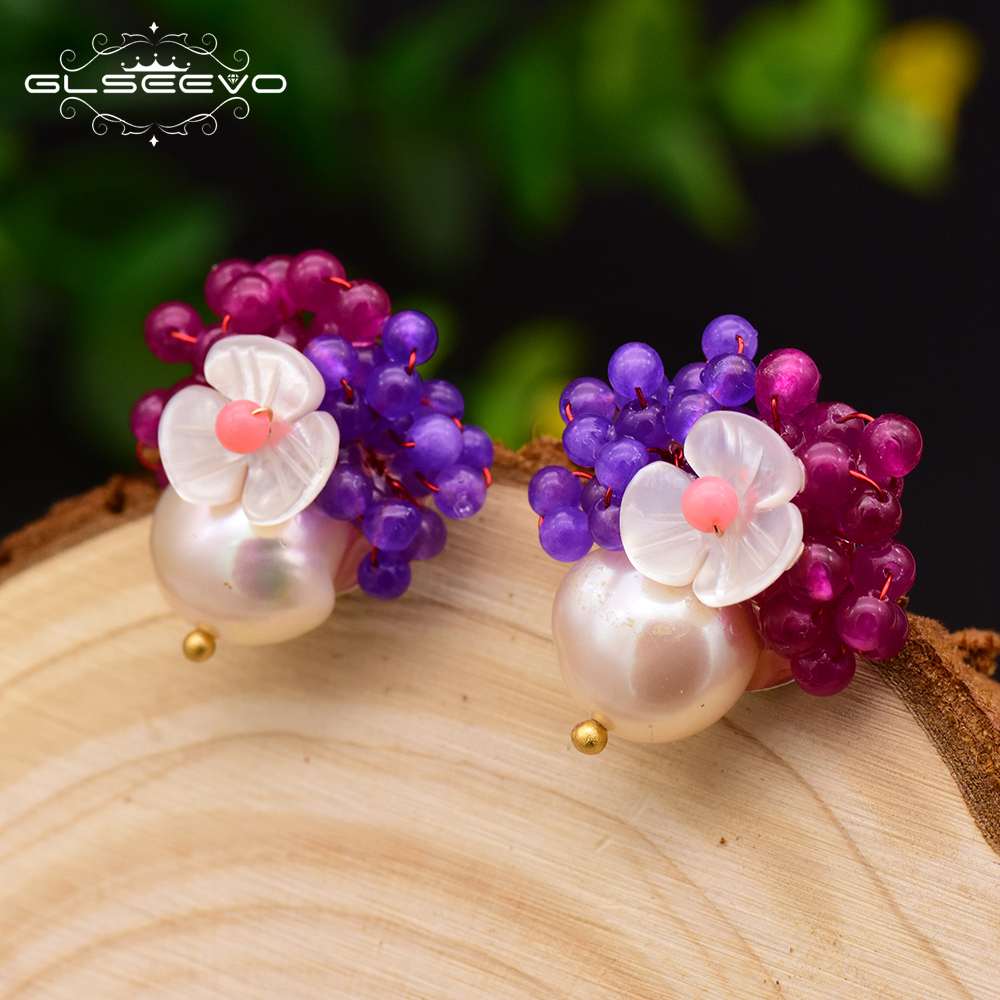 все цены на GLSEEVO 925 Sterling Silver Big Stud Earrings For Women Freshwater Pearl Shell Flower Natural Purple Red Stone Earrings GE0017 онлайн