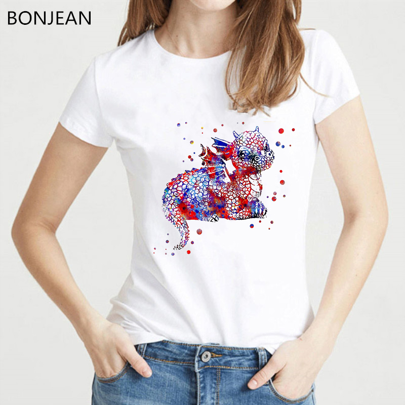 New arrival 2019 funny t shirt women watercolor <font><b>baby</b></font> Dragon <font><b>tshirt</b></font> femme <font><b>animal</b></font> print t-shirt female harajuku kawaii tops tee image