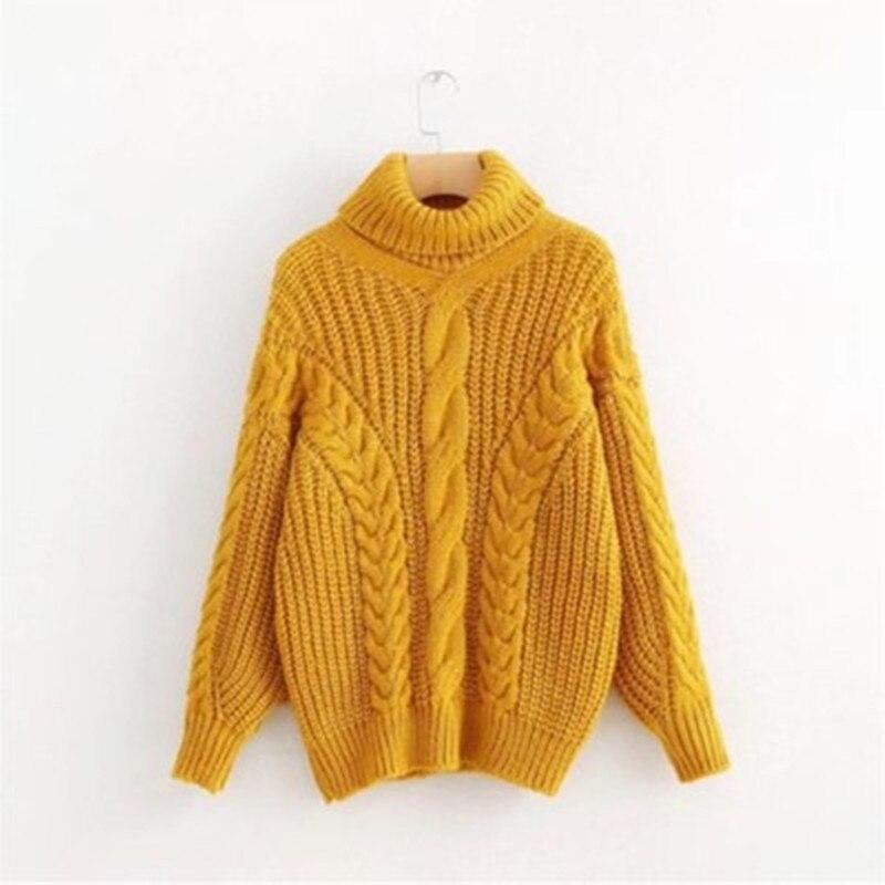 100% QualitäT Neue 2018 High-neck Pullover Frauen Herbst Und Winter Gehäkelte Lange Ärmel Einfarbig Pullover Verdicken Warme Pullover Weibliche Sw861