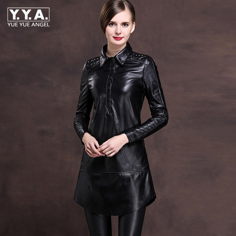 2019 New Office Ladies Lapel Collar Single Breasted Genuine Leather Mini Dress Women Rivet Punk Plus Size M 6XL Loose Fit Robe-in Dresses from Women's Clothing    1