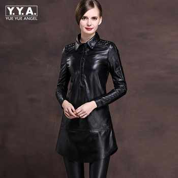 2019 New Office Ladies Lapel Collar Single Breasted Genuine Leather Mini Dress Women Rivet Punk Plus Size M-6XL Loose Fit Robe - DISCOUNT ITEM  36% OFF All Category
