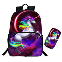 Fashion Set girl unicorn school bag Kid Backpack Zipper Backpacks School Bag Teenager Girls Book pencil bags Unicorns 16 Inch