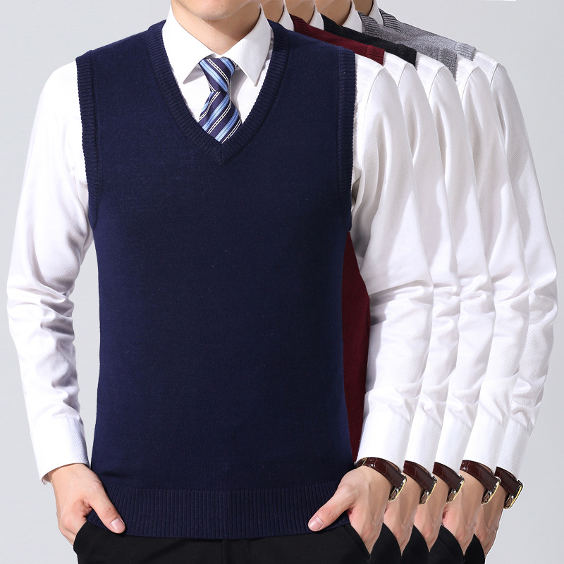 Pullovers Men Vest Sweaters V-Neck Knitted Homme Formal Sleeveless Business Classic Slim