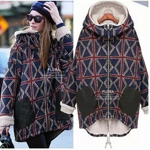 Maternity Europe 2016 new winter jacket pregnant women big yards plus velvet warm fashion plaid cotton pregnant women down coat