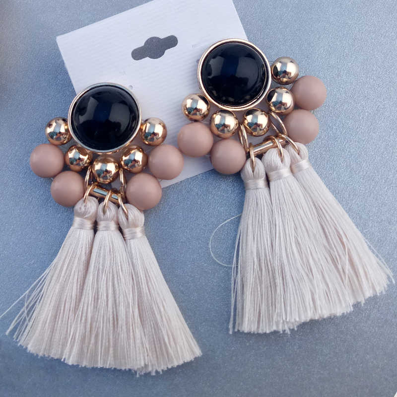 Earings Fashion Jewelry Bohemian Tassel Earrings boucle d'oreille Silk Fabric Long Drop Christmas Earrings For Women Jewelry
