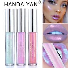 Купить с кэшбэком HANDAIYAN Liquid Lipgloss Glitter Lipstick Tint Sexy Lipsticks Pigment Shimmer Lip Gloss Sparkly Lip Stick Makeup Cosmetic