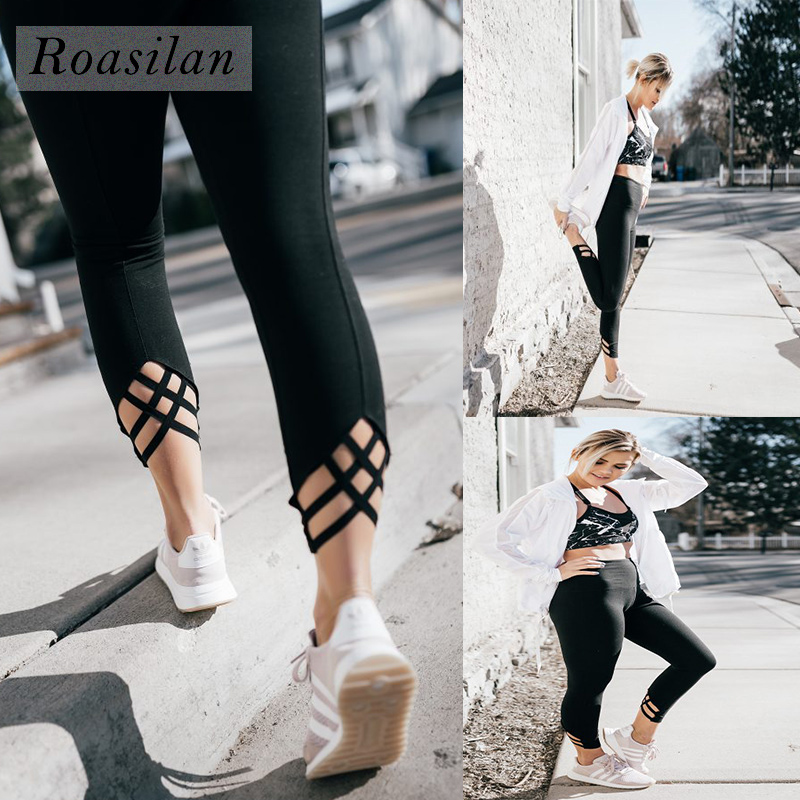 Roasilan Womens Cross Winding Diamond Hollow Yoga Fitness Dance Ballet Skinny Pants Outdoor Fitness Sweatpants