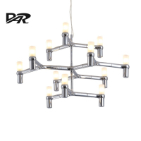 Post Modern Chandeliers Aluminum Crown MAJOR Design Duplex Villa Restaurant Lighting Black White Chrome Gold Branch