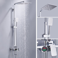 BECOLA Bathroom Shower Set Lcd Digital Display Bathtub Shower Faucet Wall Mounted Rainfall Shower Head Kit