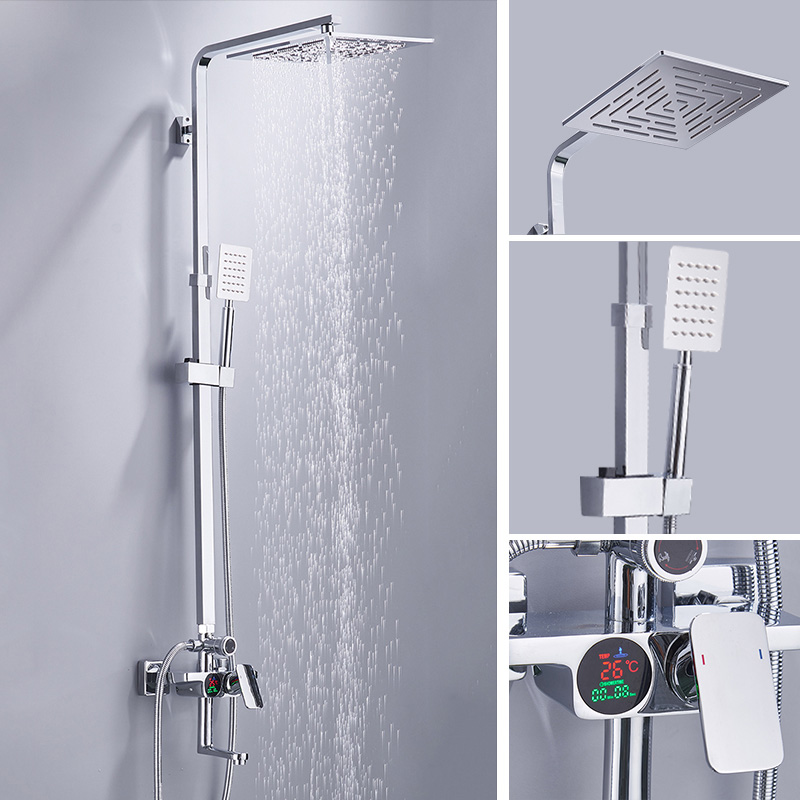 BECOLA bathroom shower set lcd digital display bathtub shower faucet wall mounted rainfall shower head kit B-SX218 free shipping polished chrome finish new wall mounted waterfall bathroom bathtub handheld shower tap mixer faucet yt 5333