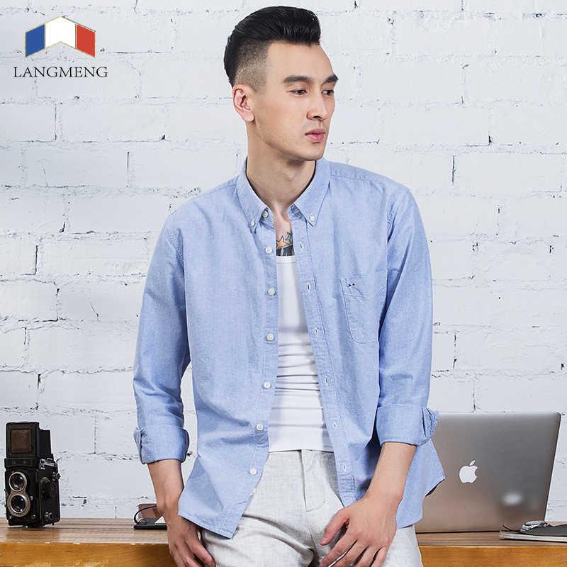 Langmeng plus rozmiar marka 100% bawełna jednolity kolor koszula mężczyzna wiosna dorywczo koszule sukienka Oxford koszula camisa masculina biały czarny