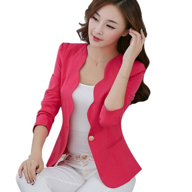 Spring OL Fashion Women Slim Blazer Coat Casual Jacket Long Sleeve One Button Suit Ladies Work Blazers 2