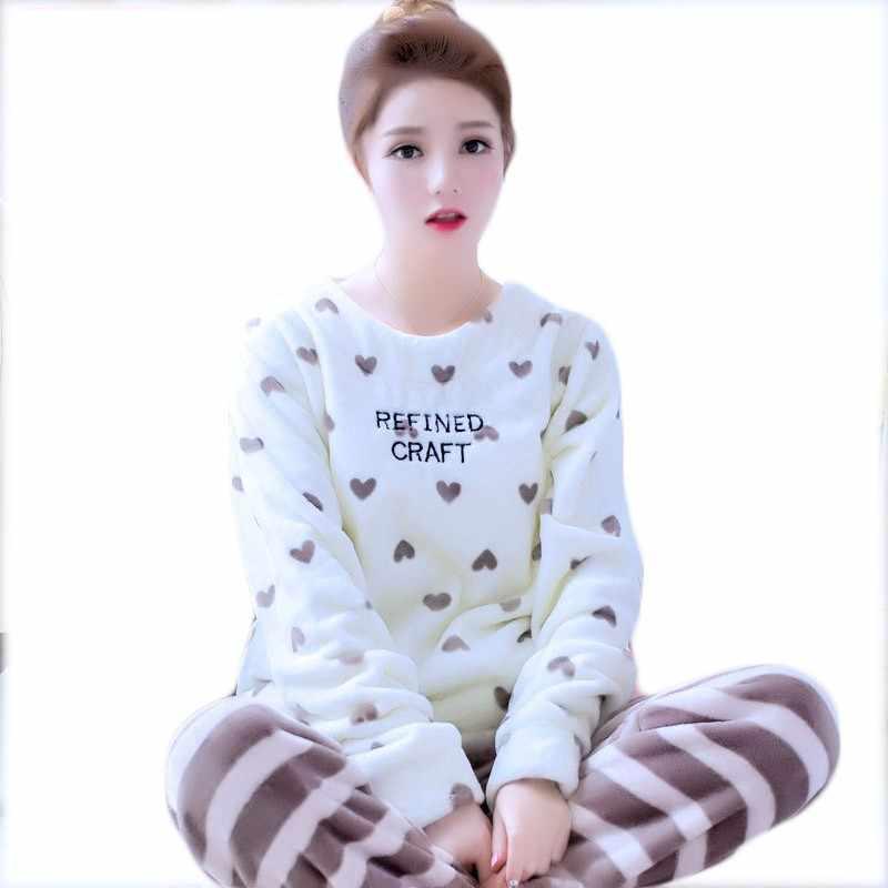 Winter Warm Flannel Young Women Sleepwear Pajamas Sweet Girl Pajama Sets  Pullover Coral Fleece Pijamas Mujer d85c0fcb5