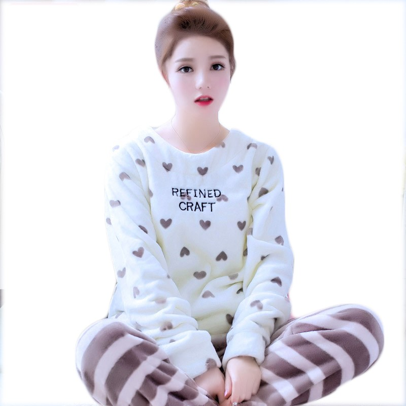 Winter Warm Flannel Young Women Sleepwear Pajamas Sweet Girl Pajama Sets Pullover Coral Fleece Pijamas Mujer Pyjamas Home Suits