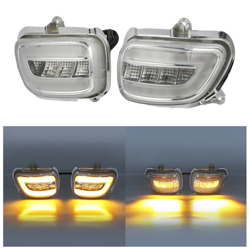 Clear Front LED Turn Signals For Honda F6B 13-17 Goldwing GL1800 2001-2017 2002 2003 2004 2005 2016 2015 front led turn signals smoke for honda goldwing gl1800 2001 2017 f6b 13 17 motorcycle