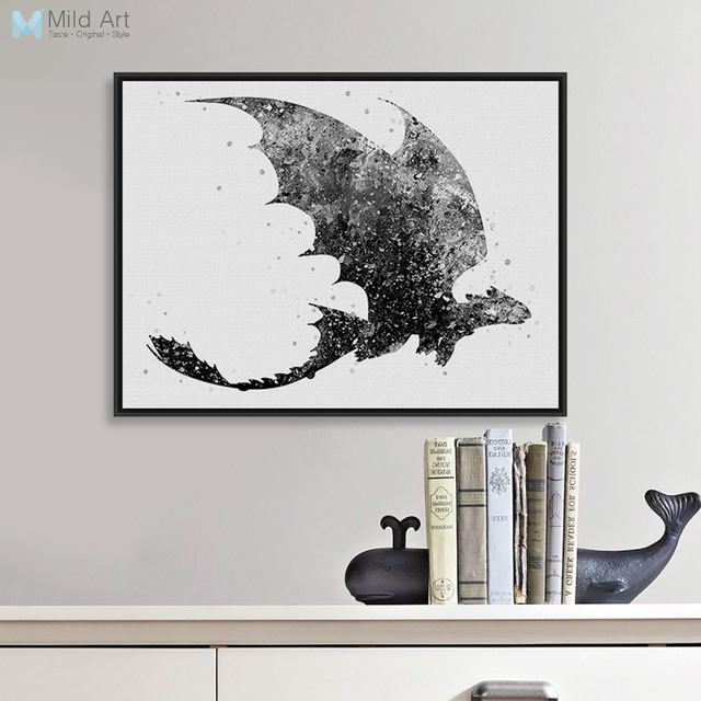 Black White Train Dragon Movie Poster Prints Abstract Anime Picture ...