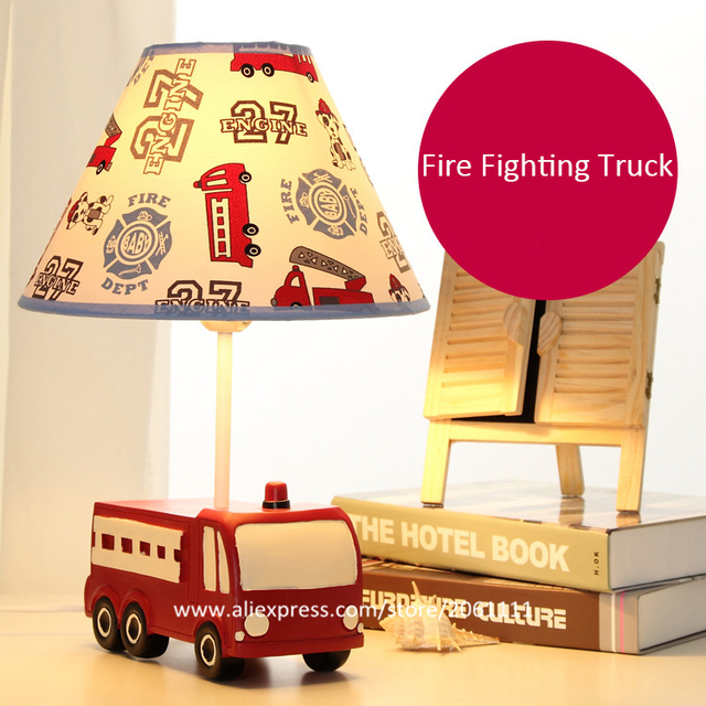 Cartoon Cool Lamps For Boys Rooms Brightness Adjule Desk Lamp With Fabric Lampshade Fire Truck Dimmable Table Kids