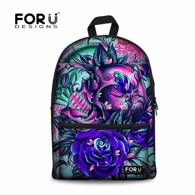 FORUDESIGNS Cool Skull Floral Canvas Backpack,High Quality School ...