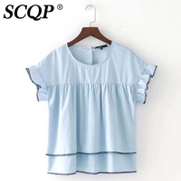 SCQP Toyouth Summer Women T Shirt Solid O Neck Button Butterfly Sleeve Womens Tops Fashion Blue