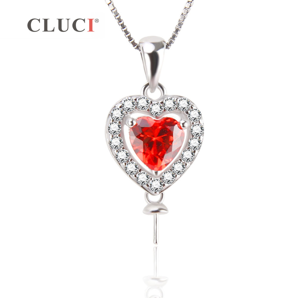 CLUCI Heart Pendant Necklace Accessary with red Zircons Romantic Jewelry Real 925 Sterling Silver for Women Wedding jewelry gift