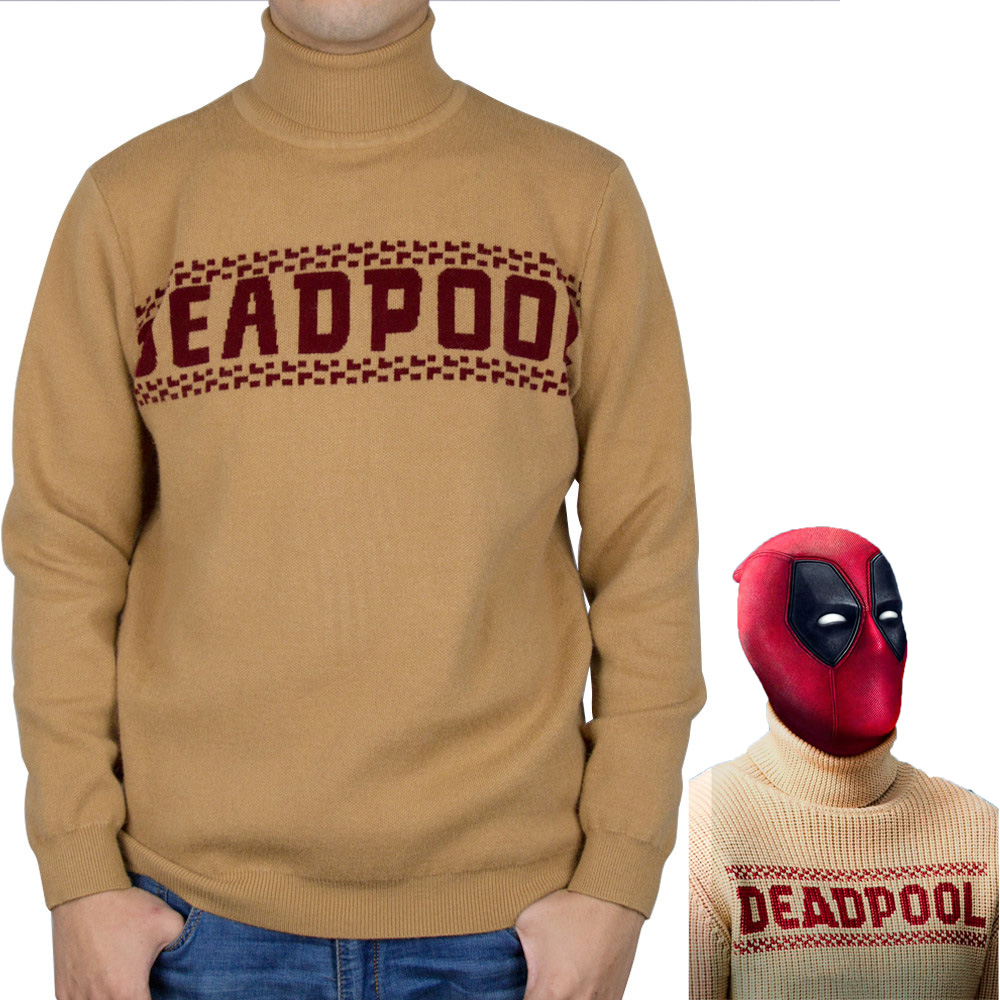 New Marvel Superhero Deadpool Sweater Cosplay Knitting Pullover Autumn and Winter Warm Clothes Halloween Party Prop
