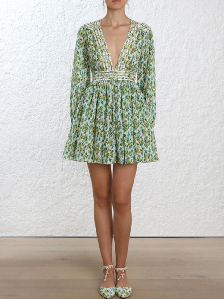 MIAOQING imprimer robe femme col en V taille haute tunique lanterne à manches longues Mini robes femmes 2019 printemps décontracté mode nouveau