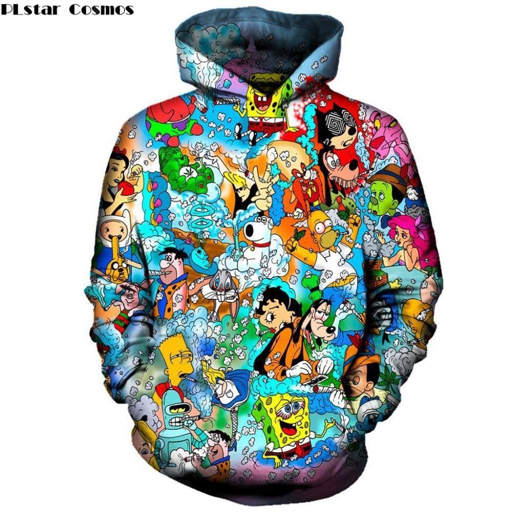 PLstar Cosmos Drop Shipping Brand Clothing 2018 New Fashion Men/Women Hoodie Cartoon Characters 3D Print Hooded Sweatshirt K-65