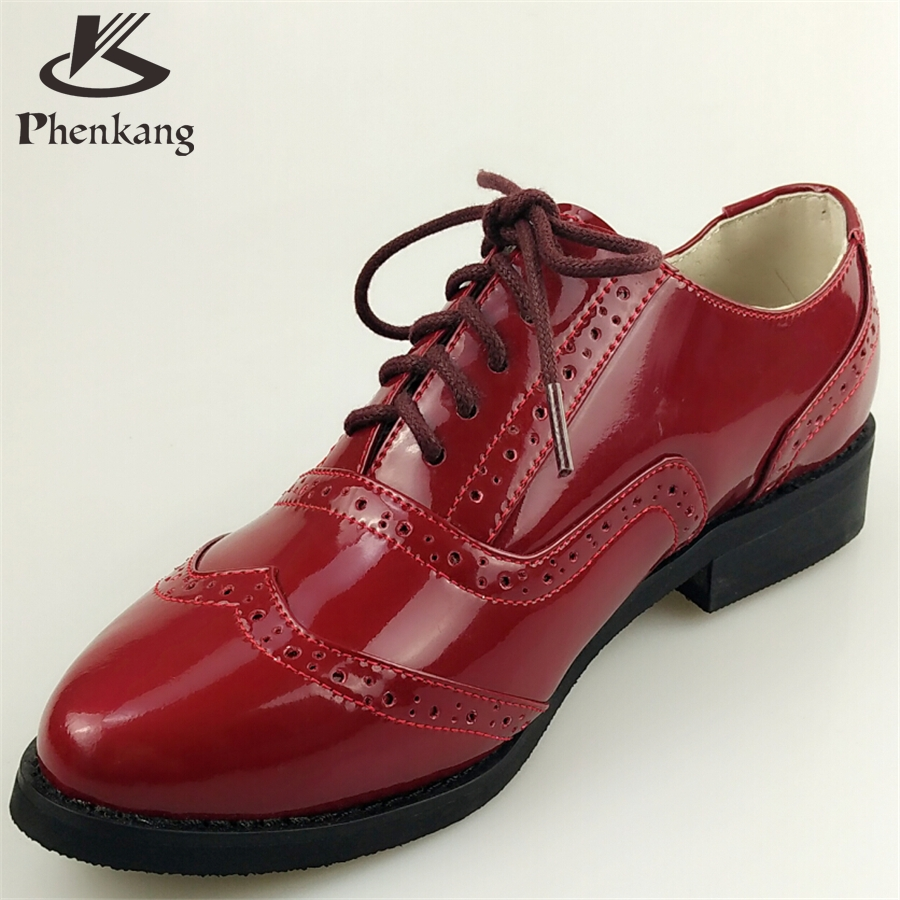 ФОТО Patent leather woman US size 8.5 designer vintage shoes pointed toe handmade red 2017 sping oxford shoes for women with fur