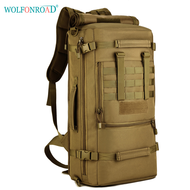 WOLFONROAD Men 50L Outdoor Climbing Bags Sport Hiking Backpack Travel Bag Military Tactical Backpack Trekking Backpacks L-SHZ-08 2017 hot sale men 50l military army bag men backpack high quality waterproof nylon laptop backpacks camouflage bags freeshipping