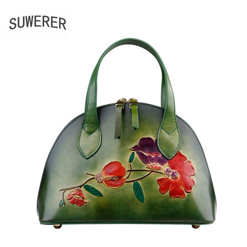 SUWERER из натуральной кожи женская сумка для женщин 2018 Новая мода оболочка мешок роскошные сумки женские сумки дизайнер тиснение кожаные сумк
