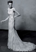 Free Shipping 2014 Gorgeous Mermaid Court Train Lace Spanish Style Wedding Dresses With Sash WX11621