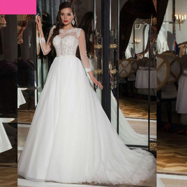 cc4135b8c5012 سندريلا فساتين الزفاف طويل الأكمام فستان الزفاف مورد مخصص vestidos دي novia  baratos دي encaje الإنترنت