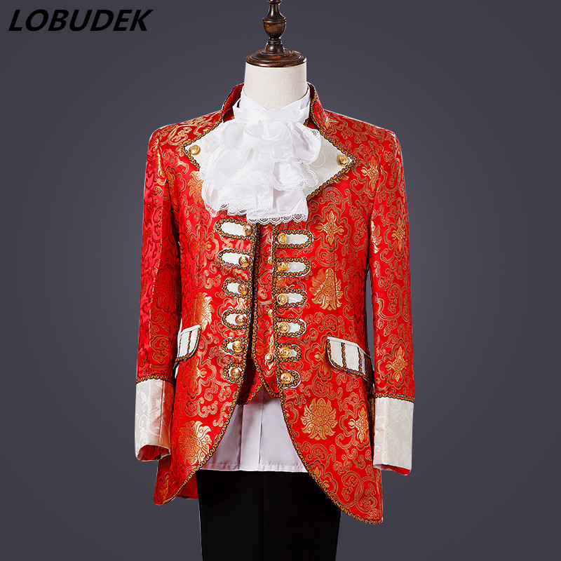 Men Court Dress Suits European Style Theatrical Costume Red  Court Blazer Singer Group Chorus Prom Performance Stage Outfit