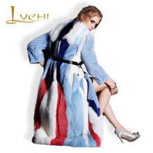 LVCHI 2017 Mink Coat New Coat Full Pelt Natural Furs Women's Fur Coats Vintage Fur Warm Rainbow Color Mink Fur Coat Down Women