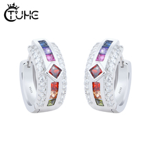 hot deal buy real 925 sterling silver dazzling cz stud earrings for women fashion crystal rainbow s 925  silver jewelry engagement  gift hoop
