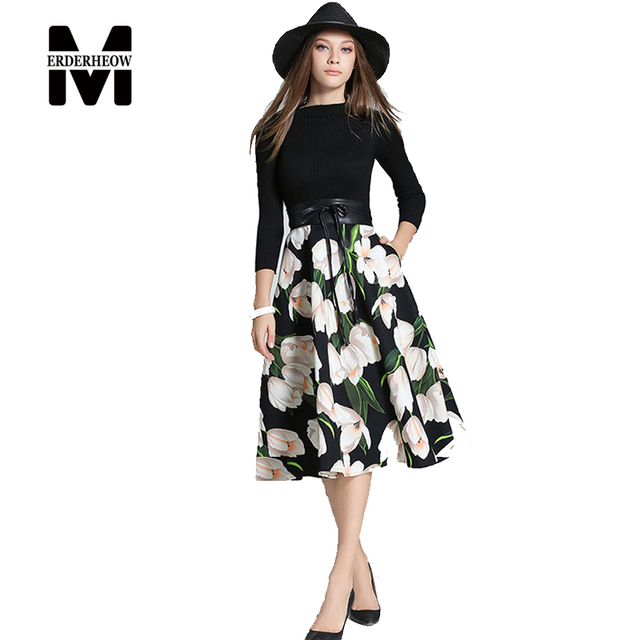 4c35df7a2d4 Merderheow New Europe 2017 Spring Women s Printing Long Dresses Femme  Casual Sashes Clothing Women Sexy Slim
