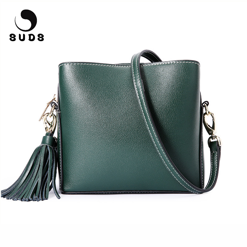 SUDS Brand Genuine Leather Women Small Shoulder Bag High Quality Ladies Tassel Flap Bag Fashion Female Cow Leather Messenger Bag
